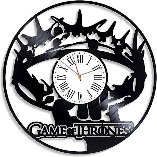 SKYTY Golden Crown Art Game of Thrones Reloj De Pared Reloj De Disco De Vinilo Vintage Idea De Regalo para Ventilador con Luz Led