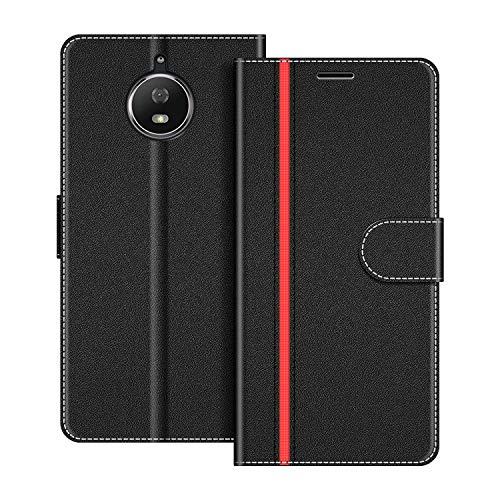 COODIO Handyhülle für Motorola Moto G5S Handy Hülle, Motorola Moto G5S Hülle Leder Handytasche für Motorola Moto G5S Klapphülle Tasche, Schwarz/Rot