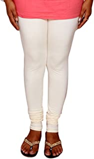 IndiWeaves Womens Premium Cotton Full Ankle Length Solid Colors Leggings-White-Free Size