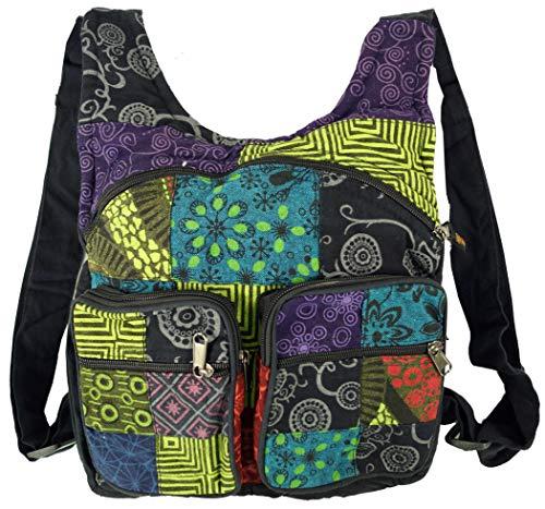 GURU SHOP Patchwork Rucksack, Freizeitrucksack, Hippie Rucksack - Schwarz, Herren/Damen, Baumwolle, Size:One Size, 30x28x6 cm, Ausgefallene Stofftasche