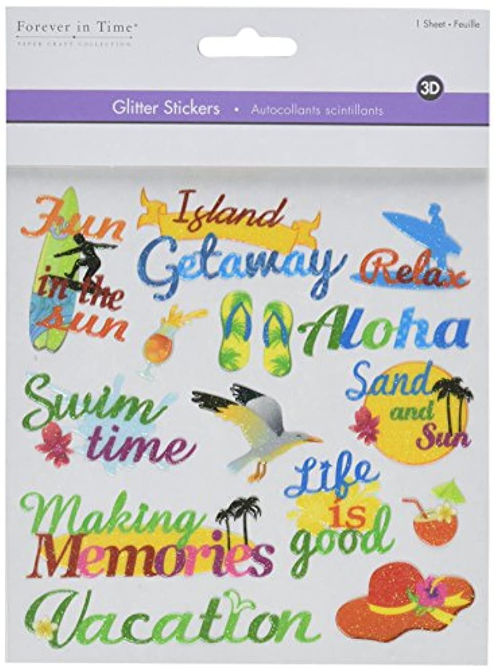 Multicraft Imports Glitter Themes Vacation Stickers Sheet, 5.9