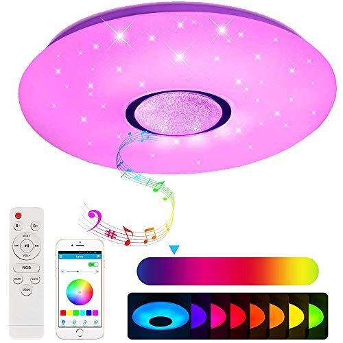 Lámpara LED de techo con altavoz Bluetooth, control por aplicación para smartphone, intensidad regulable, música RGB y blanco hasta blanco cálido 2700-6500 K, lámpara redonda empotrada