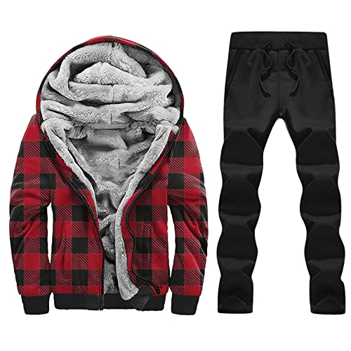 Lomelomme Chaqueta de forro polar para hombre, chaqueta de invierno para hombre, plumón, chaqueta de algodón con capucha, forrada, chaqueta deportiva (juego de 2 piezas), rojo, XL