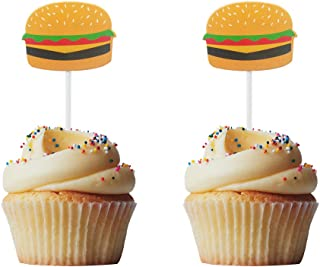 Morndew 24 PCS Hamburger BBQ Cheeseburger Cupcake Toppers for Barbeque Theme Party Birthday Party Wedding Party Decorations