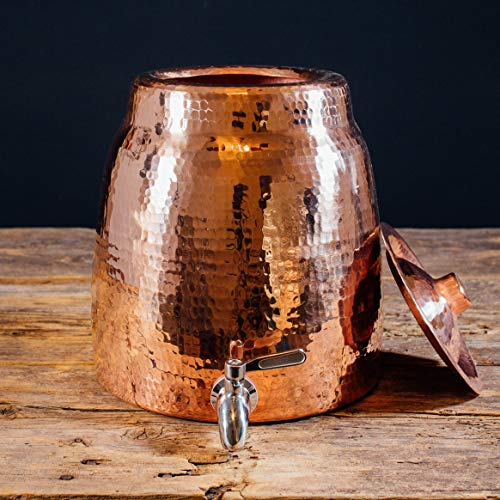 Sertodo Copper Niagara Water Dispenser without Lid, Hand Hammered 100% Pure Copper, 2.5 Gallon Capacity