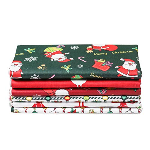 Meneng Christmas Theme Cotton Fabric Square Sheets,Snowman and Santa Print Fat Quarters Quilting Fabric Bundle for Craft Patchwork Sewing,6 Packs 20'' x 20'' (Christmas Theme)