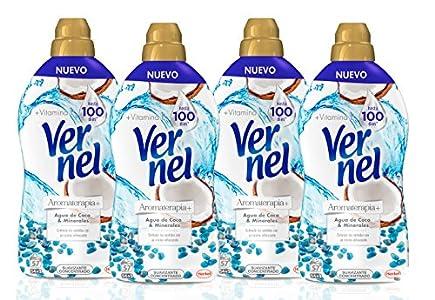 Vernel Aromaterapia Suavizante para la ropa Concentrado Coco - Pack de 4, total 228 Lavados