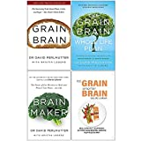 Grain Brain, Grain Brain Whole Life Plan, Brain Maker, No Grain Smarter Brain Body Diet Cookbook 4 Books Collection Set
