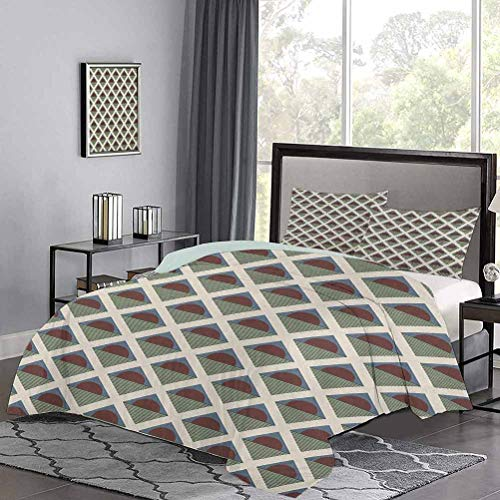 UNOSEKS LANZON Bedding Set Pop Art Style Funky Half Circles Geometric Diamond Stripes Old Fashioned Graphic Premium Quilt Cover Super Soft and Makes Your Bed Even More Cozy Multicolor, Twin Size