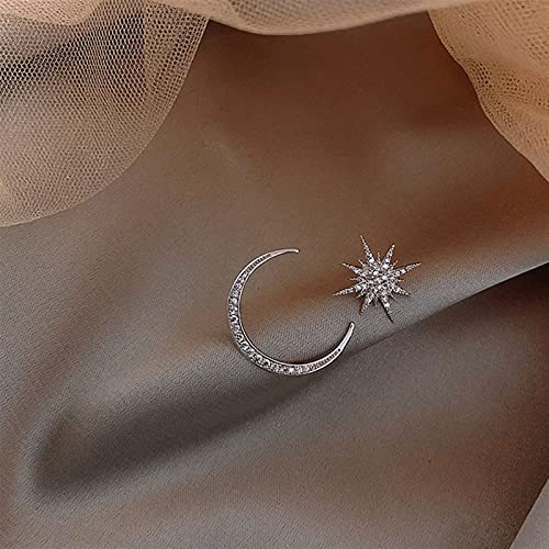 Pendientes para mujeres Star Star Moon Pendientes asimétricos de alta sensación Evitan la alergia. $158 (Metal Color : Silver)