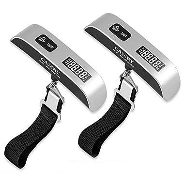 Camry Digital Hanging Postal Luggage Scale Temperature Sensor 110lb/50kg Silver/black, 2pack