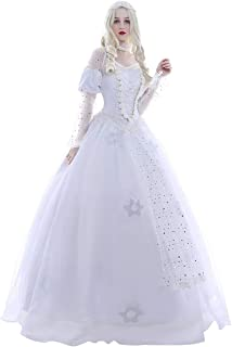 Long White Queen Lace Bridal Dress Luxury Gown Women Halloween Cosplay Costume