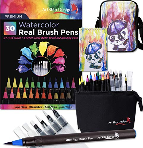 Gift Pack 30 Watercolor Brush Pens, Matching Messenger Bag and Watercolor Pad, Custom Folding Upright Pen Case, 24 Colors 6 Water Brushes, Real Nylon Brush Tips, Watercolor Painting, Low Mess, Panda