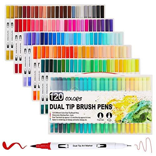 qkdop 12-100/120 Colores rotuladores de Arte de Doble Punta rotuladores de Acuarela rotulador Dibujo Fino delineador de Pintura Pincel útiles Escolares