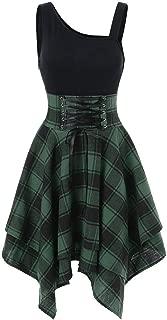 Birdfly Basic Black Top Patchwork Plaid Skirt Fashion Dress for Women Girl