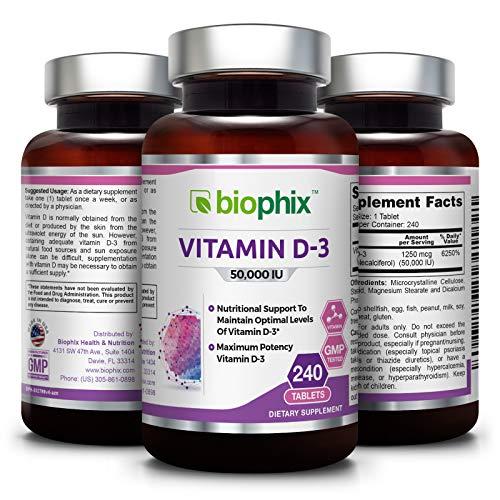Vitamin D3 50000 IU 240 Tabs - High-Potency | Strong Bones | Immune Health | Support for K-2