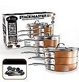 Gotham Steel Stackmaster Pots & Pans Set | Space Saving 15 Piece Stackable Nonstick Cookware Set, Includes Frying Pans, Skillets, Saucepans Stock Pots + 5 Utensils | Induction, Oven & Dishwasher Safe