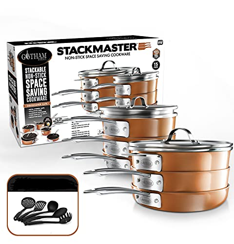 Gotham Steel Stackmaster - Juego de ollas y sartenes (15 piezas, apilables, antiadherentes, incluye sartenes, sartenes, cacerolas y 5 utensilios, apto para inducción, horno y lavavajillas