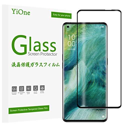 YiOne OPPO Find X2 Pro OPG01 ガラスフィルム 強化ガラス 最?硬度9H・3D曲面対応・指紋認証対応 炭素繊維 3D曲面フレーム ブラック 全面保護 飛散防止 気泡ゼロ Find X2 Pro OPG01液晶保護フィルム