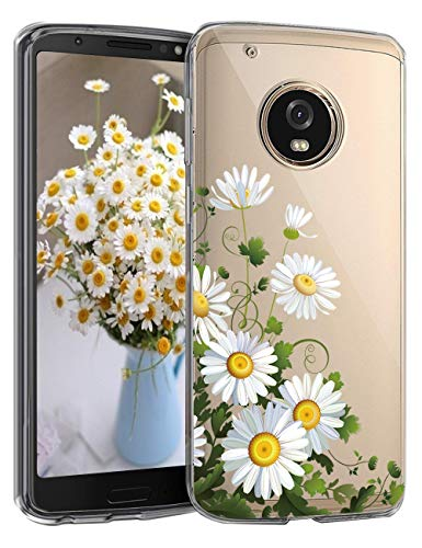 5-Blair Slim fit Case for Motorola Moto G5 Plus Case Flower Clear Soft TPU Transparent Silicone Shockproof Protective Cover Moto G5+ (F)