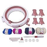 編みキット 編み物おもちゃ 48針編み機 毛糸付き 調節可能  ミニミシン 手芸 知育玩具 丸型 マフラー 帽子 小物 お誕生日 DIY プレゼント 毛糸の色合いはランダムに発送