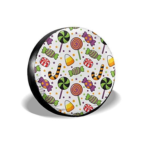 Cubierta de neumático de repuesto de caramelos de dibujos animados, cubierta de neumático de rueda universal portátil a prueba de polvo impermeable apta para muchos vehículos (14 15 16 17 pulgadas)