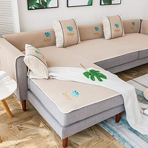 Hybad Couch schoner,sesselläufer,sofaläufer,Coole Sofabezug für Wohnzimmer,rutschfeste Sommer-Couchbezug,Sofamassagekissen für 4 Jahreszeiten-Beige-70 * 90cm