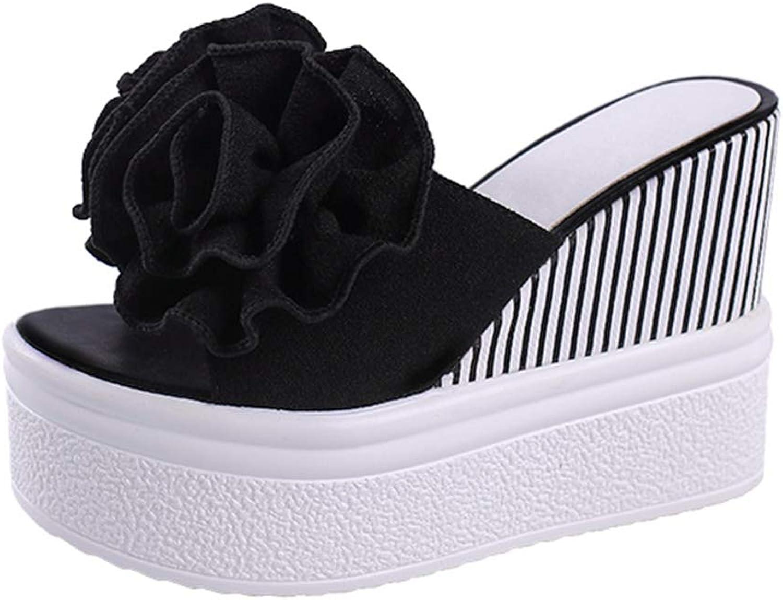 T-JULY Woman Beach Flip Flops Flowers Summer Slides High Heels Slippers Platform shoes Female Rubber Wedge Sandals