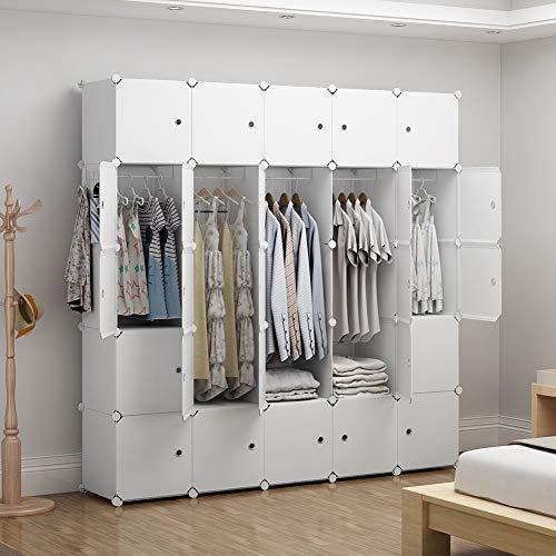 GEORGE&DANIS Portable Wardrobe Closet (71x18x71 inches) Cube Storage Organizer Plastic Dresser Bedroom Armoire Carbinet Shelf, White