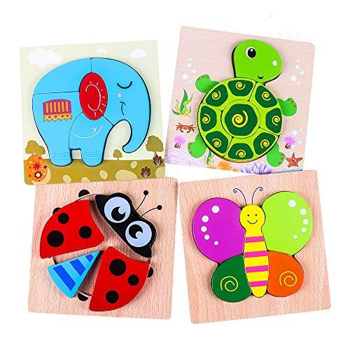 Puzzles de Madera, Rompecabezas de Animales para Niños Niñas, Juguetes Montessori Educativos para Bebé de 1,2,3 años (4 Piezas)