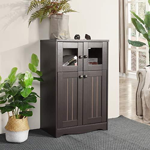 FurnitureR Gabinete de Piso de Almacenamiento, gabinete Independiente con estantes de 3 Niveles en el…