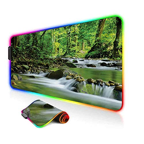 RGB Gaming Mouse Pad Mat,Mountain Stream in a Tropical Rain Forest Foliage Countryside Wilderness Scene Non-Slip Mousepad Rubber Base,35.6'x15.7',for Game Players,Office,Study Green Brown