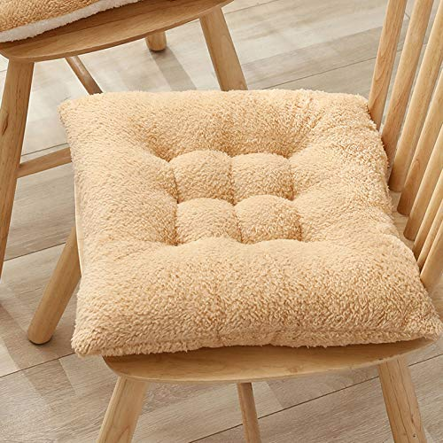 SILUQ Square Plush Chair Cushion,comfort Non Slip 10cm Solid Color Wool Cashmere Full Support Soft Office Sedentary Meditation Mat Bay Window Mat 52cm A