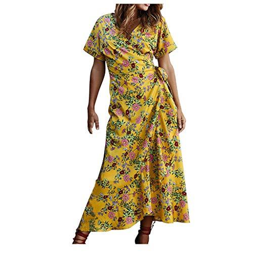 ELECTRI Femme Floral Boho Mini Robe Robe Manches Robe Casual Col V Robe Longue Boheme Chic Robe de Plage