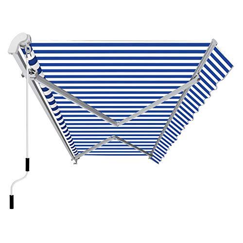 SONGMICS Gelenkarmmarkise 3 m, Markise mit Kurbel, Sonnenschutz, Anti-UV und wasserfest, blau und weiß, 300 x 250 cm, GRA30UW