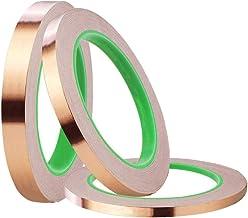 Andifany 3 Pack Aluminiumfolie Tape met geleidende kleefmiddel,3 maten koperen tape dubbelzijdig voor EMI afscherming, Slu...
