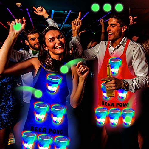 Six Senses Media Light Up Beer Pong Apron Fun Game Flashing Color Beer Pong Cups of Beer Pong Apron for House Parties Birthdays Concerts Weddings BBQ Beach DJ Holidays