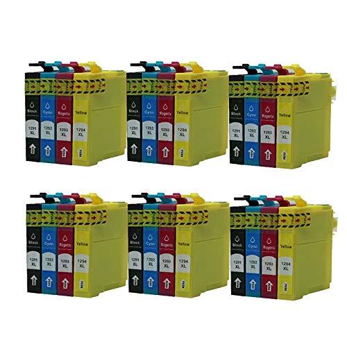 ZYL - Juego de cartuchos de tinta compatibles con Epson T1291-T1294 (T1295) Stylus Office B42WD BX305F BX305FW BX305FW Plus BX320FW BX525WD BX535WD BX625FWD BX630FW BX635FWD BX925FWD BX925FWD BX935W SX935W SX230 y SX935FW SX935WD, 24 x (6 unidades)