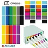 AIXONTEC 480 PVC frei Kabeletiketten 240 Wickeletiketten & 240 Port Label Mehrfarbig beschriften Kabelmarker bunt 48 Etiketten pro Kabeletikettbogen Set selbstklebend datenkabel Organizer
