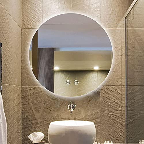 Espejo de baño LED redondo, Espejo retroiluminado regulable de 3 colores, Espejo inteligente para baño Interruptor táctil integrado con función antiniebla, Espejo de tocador de maquillaje iluminado