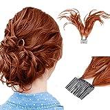 Queentas Biegsame Drähte Foxtail Comb Updo Synthetischer Messy Bun Clip im Pferdeschwanz-Haarteil mit flexiblen Haarsträhnen