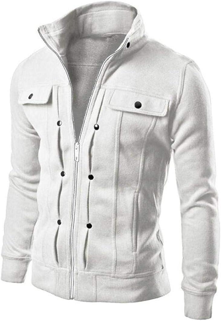 Mens Hoodies Full Zipper Lightweight Slim Casual Long Sleeve Solid Lapel Hooded Pullover Sweatshirts Outwear Jacket Coat