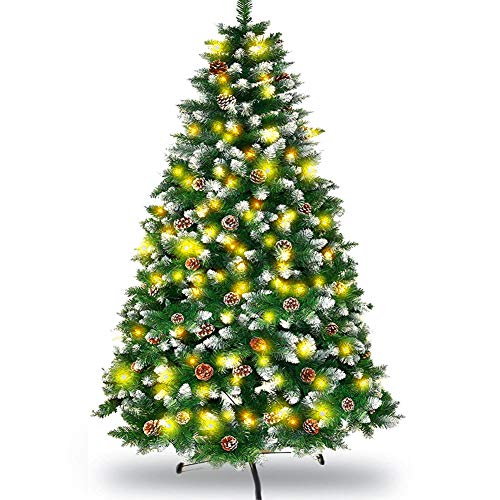7 Ft Christmas Tree with Pine Cones and Light, Prelit Artificial Christmas Pine Trees for Outdoor/Indoor, Fully Xmas Spruce Tree with Metal Stand for Home,Office, 1000 Tips (Green)