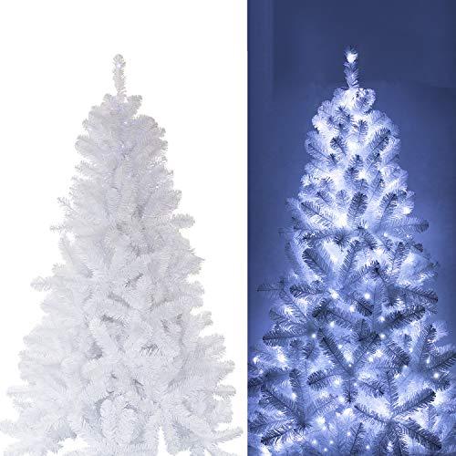 Busybee Albero di Natale da 210 cm con 360 luci a LED e Ornamenti da 135 Pezzi Decorazioni Natalizie in Bianco...