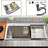 Fregadero de cocina con escurridor de acero inoxidable, cuadrado, 55 x 45 x 22 cm