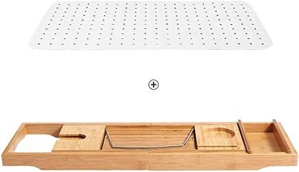 Shelves Shelving Luxury Bathtub Caddy - Extendable Bamboo Wood Bath Tray Adjustable Book, iPad Kindle Reading Rack - Wine Glass Holder - Cellphone Tablet Slot Racks