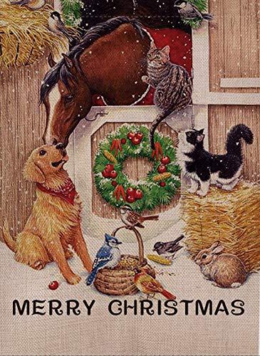 Selmad Home Farm Merry Christmas Horses Garden Flag Winter Quote Double Sided, Xmas Dog Cardinal House Yard Flag Cat, Animals Garden Yard Decoration, Vintage Seasonal Outdoor Flag 12 x 18 Beagle
