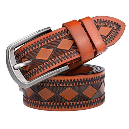 Cinturón De Cuero Artesanal A Cuadros 3D Jeans Jóvenes Cinturón Fácil De Cuero Aleación De Lujo Hebillas Cinturones Cinturón (Color : Yellowbrown, Size : One Size)