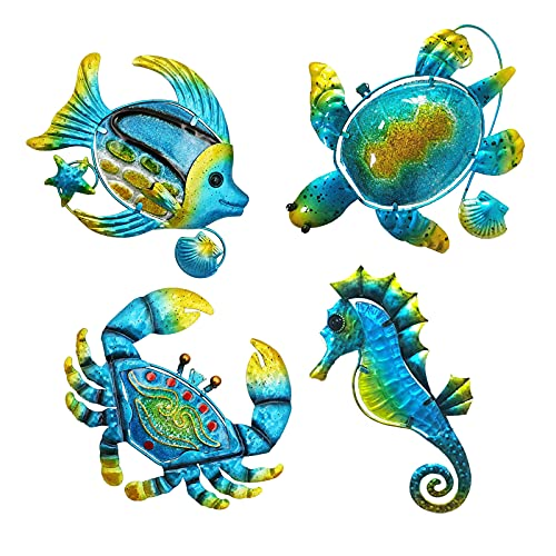 Set of 4 Metal Outdoor Wall Art Decor, Beach Pool Sea Decor Theme with Metal Sea Turtle Fish Crab and Seahorse, Perfect Metal Wall Decor for Bathroom, Bedroom, Outside Garden, Fence, Patio, Yard Decor