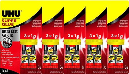 UHU Sekundenkleber blitzschnell MINIS, flüssig 3 x 1g (5 Packungen)